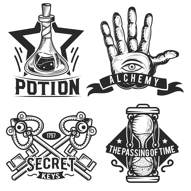 Set of alchemy emblems, labels, badges, logos.