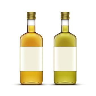 Set of alcohol beverages drinks whiskey oil glass bottles