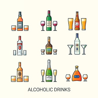 Set of alcoholic drinks isolated on white