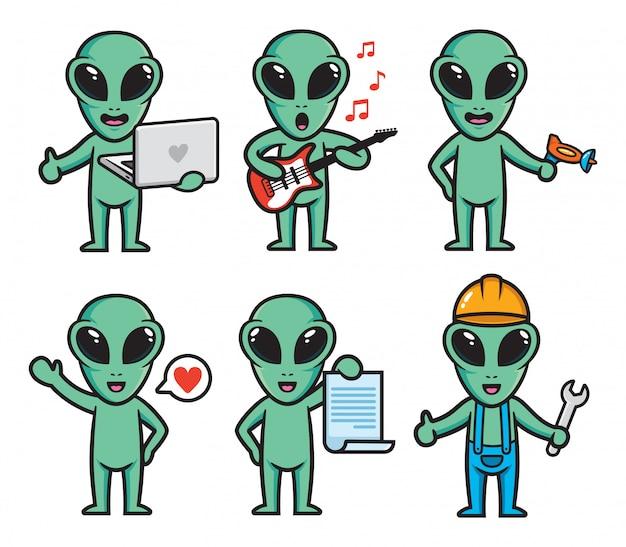Set of alien character design