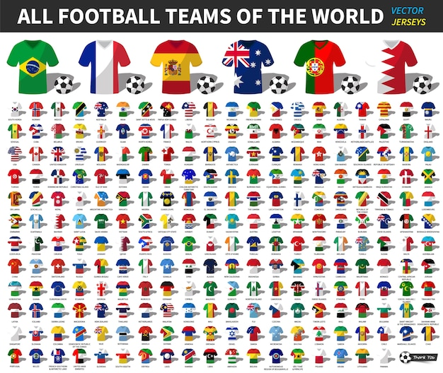 Set of all national football or soccer team jersey of world