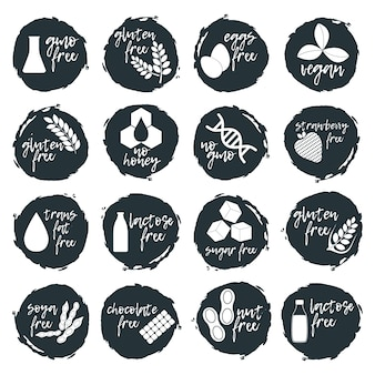 Set of allergen food, gmo free products icon and logo. intolerance and allergy food. concept black and simple   illustration and isolated art