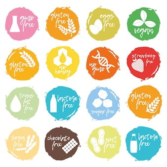 Set of allergen food, gmo free products icon and logo. intolerance and allergy food.