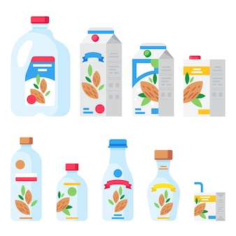 Set of almond milk product in various containers.