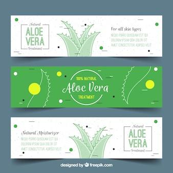Set of aloe vera banners