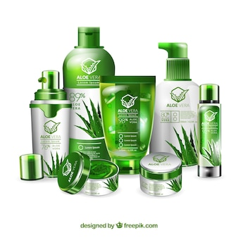 Set of aloe vera cosmetic products