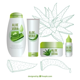 Set of aloe vera products with sketches