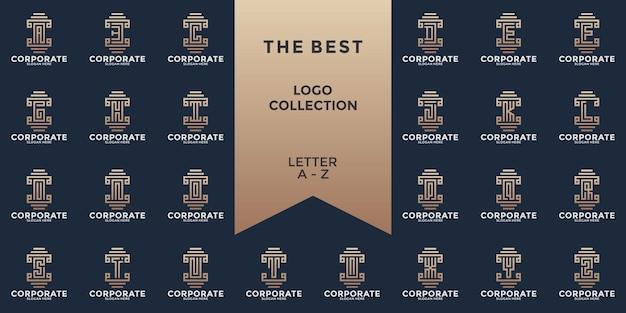 알파벳 a ~ z 기둥 스타일 모노그램 로고 디자인 서식 파일 설정