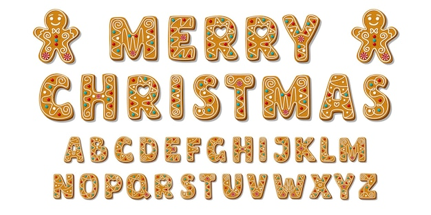 Set of alphabet holidays gingerbread cookies. christmas abc letters font.
