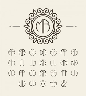 Set of alphabet initials and line monogram
