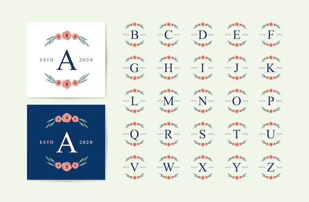 Set of alphabet logo with beautiful flowers