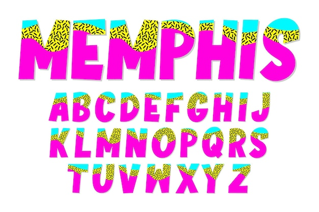 Set of alphabet with memphis design style