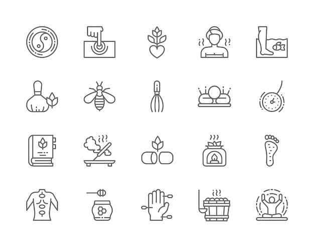 Set of alternative medicine line icons.