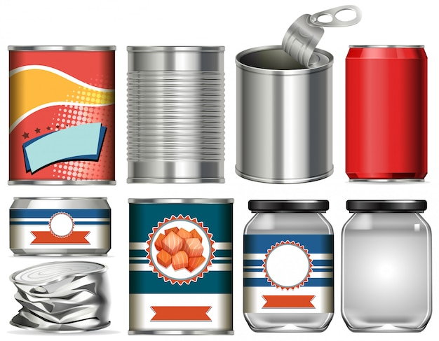 Set of aluminium cans with label design on white background