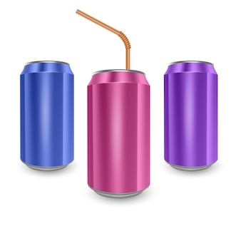 Set of aluminum cans of blue, pink and purple colors, isolated on white background