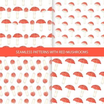Set of amanita mushrooms seamless patterns