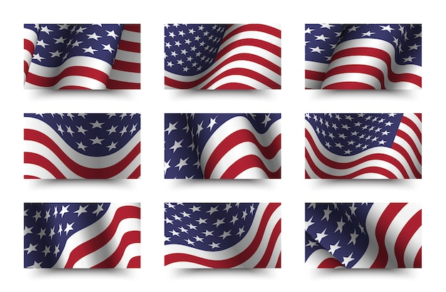 Set of america flag background collection. waving design. 4th of july independence day concept.