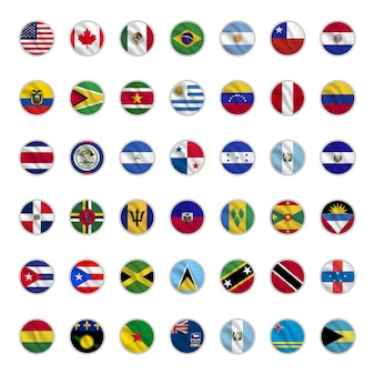Set of american country flags with circle shapes waving style