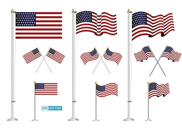Set of american flag clip art isolated eps vector