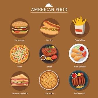 Set of american food