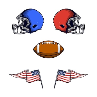Set of american football equipment and vector
