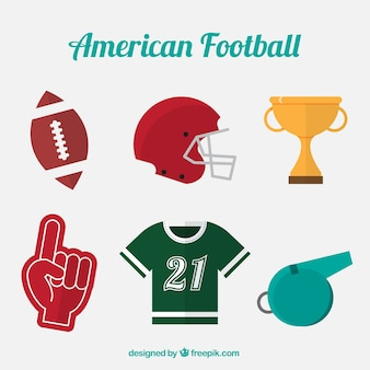 Set of american football objects in flat design