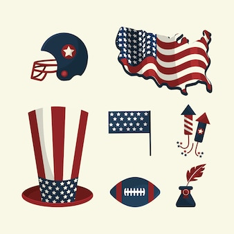 Set american tradition elements icons