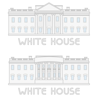 Set american white house building line