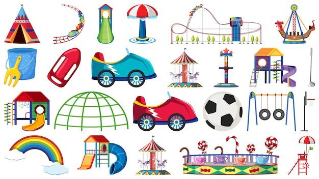 Set of amusement park ride