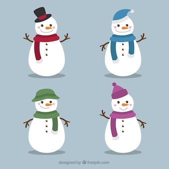 Set of amusing snowmen with scarf and hat
