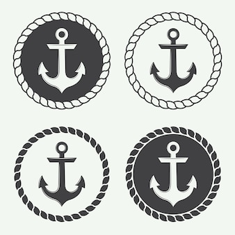 Set of anchors in vintage style. vector illustration