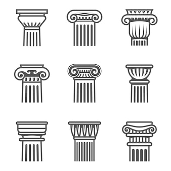 Set of ancient columns icon in black and white colors