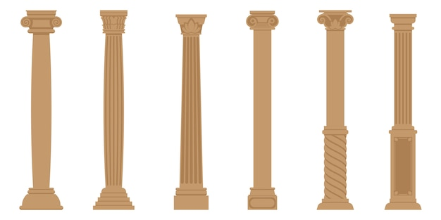 Set of ancient columns. objects in flat style isolated on white background.