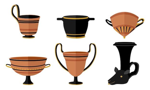 고대 그리스 마시는 컵 라이톤, 칸타로스, 스카이포스, 마스토스, 키아토스, 실릭스를 설정합니다. 스타일 플랫 벡터 일러스트레이션의 흰색 배경에 패턴이 있는 키트 클레이 고대 와인 컵.