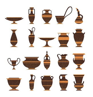 Set of ancient greek pottery amphorae vases isolated icons