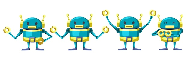 Set of android character robot cartoon style futuristic machine for industrial use.  isolated futuristic cybernetic objects technology isolated  illustration.