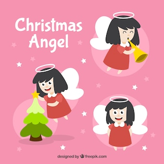 Set of angel in different positions