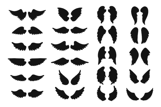 Set of angel wing silhouettes.