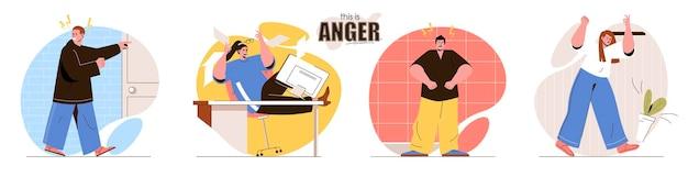 人のキャラクターの怒りのフラットデザインコンセプトイラストを設定