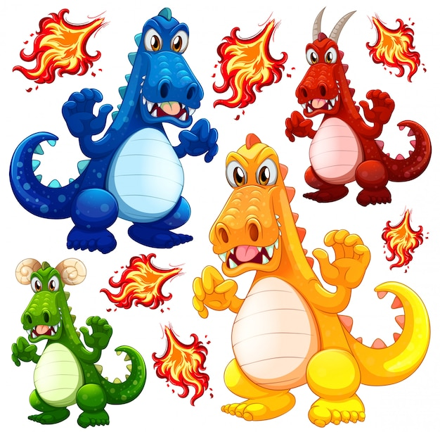 Set of angry dragon