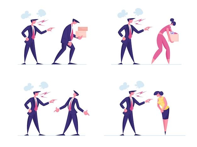 Установите разгневанного яростного босса, ругающего и упрекающего некомпетентного сотрудника