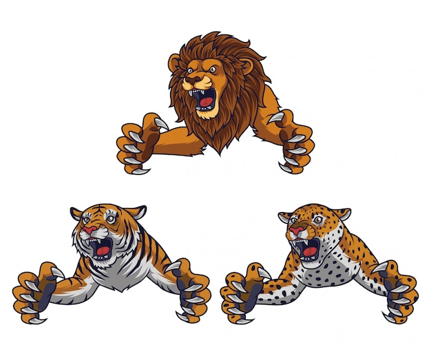Set of angry leaping lion tiger and leopard