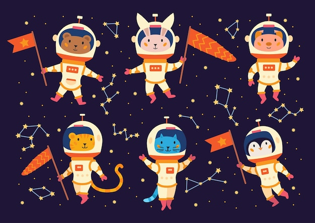 Set of animal astronauts in space suits