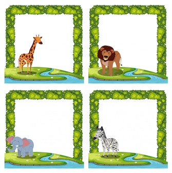 Set of animal border