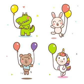 Set of animal cartoon with balloon vector