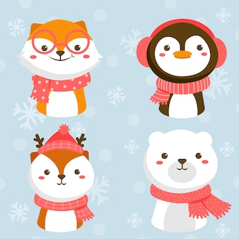 Set of animal character with fox, rabbit, penguin and white bear
