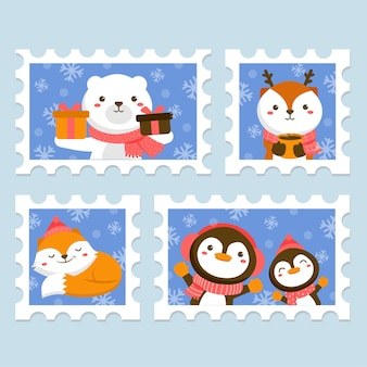 Set of animal character with stamps featuring white bears, deer, foxes and penguins.