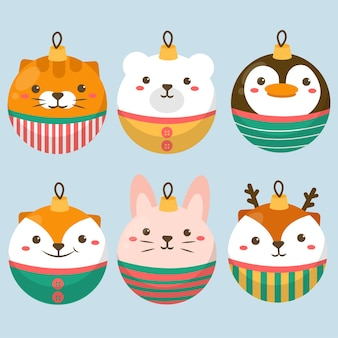 Set of animal character with tiger, white bear, penguin, rabbit and deer in ball