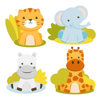 Set of animal character with tigers, elephants, giraffes and hippos