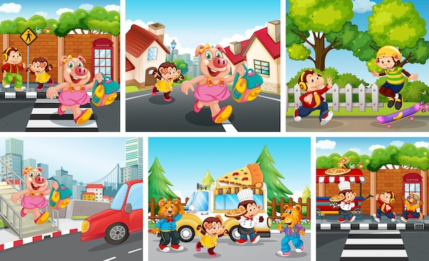 Set of animal children with city background